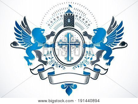 Vintage heraldry design template vector emblem composed with religious cross ancient castle and mythic gryphon.