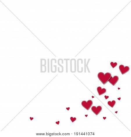 Cutout Red Paper Hearts. Bottom Right Corner On White Background. Vector Illustration.