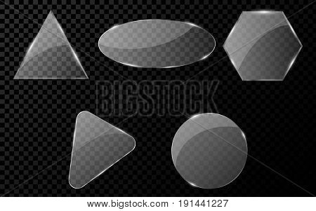 Realistic glass objects. A set of blank banners for your projects. Hi-tech in design. Brilliant clear glass. Vector illustration. EPS 10