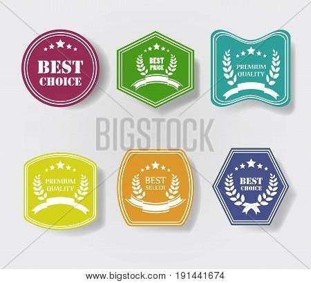 Vector set of vintage colorful glossy plastic promo labels. Best Price, Premium Quality, Best Choice, Bestseller, Best Price, Highest Quality Guarantee.
