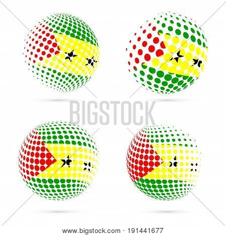 Sao Tome And Principe Halftone Flag Set Patriotic Vector Design. 3D Halftone Sphere In Sao Tome And