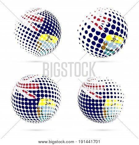 Saint Helena Halftone Flag Set Patriotic Vector Design. 3D Halftone Sphere In Saint Helena National