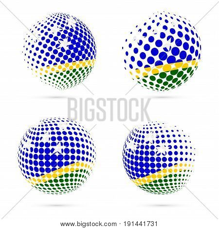 Solomon Islands Halftone Flag Set Patriotic Vector Design. 3D Halftone Sphere In Solomon Islands Nat