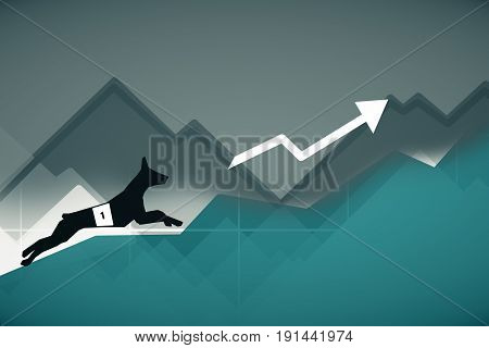 Side view of abstract dog figure running up turquoise business charts with arrow. Race concept. 3D Rendering