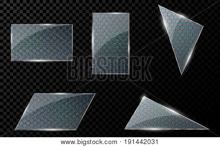 Realistic glass objects with a cyber pattern of luminous honeycombs in blue. A set of blank banners for your projects. Hi-tech in design. Brilliant clear glass. Vector illustration. EPS 10