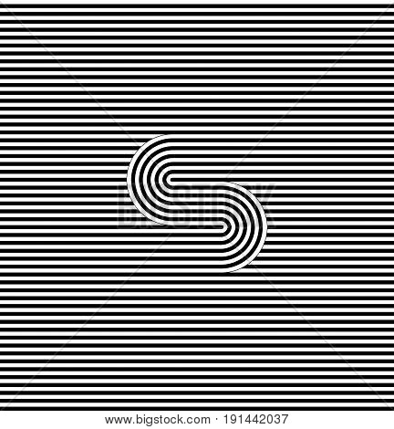 Curved striped seamless pattern. Vector illustration. Geometric striped ornament. Monochrome background with interlaced striped tapes. Graphic texture.