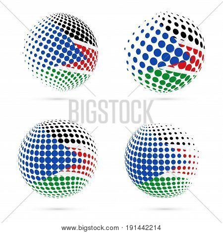 South Sudan Halftone Flag Set Patriotic Vector Design. 3D Halftone Sphere In South Sudan National Fl