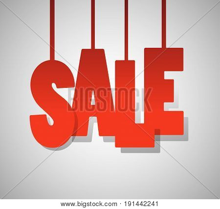 red text SALE on gray background. vector illustration EPS10