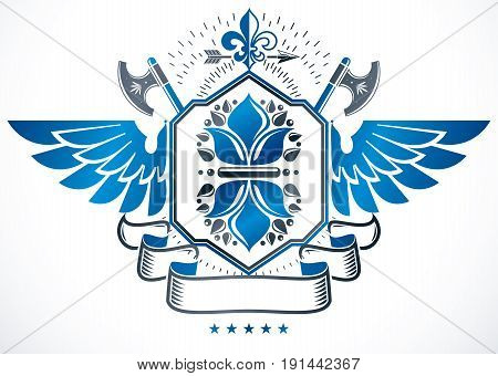 Winged heraldic sign made with vector elements heraldry insignia decorated using lily flower and ancient hatchets