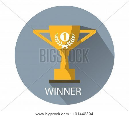 The first place trophy. Gold winner cup flat icon on white background . Vector illustration EPS10