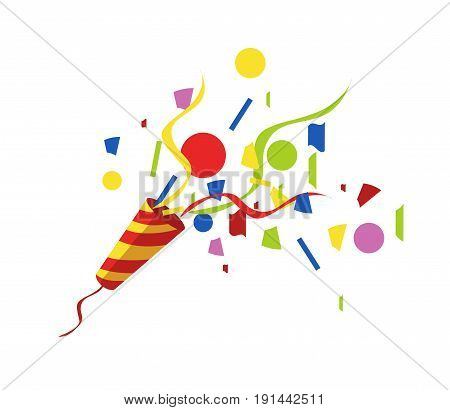 exploding party popper with serpantin and serpantinom on white background . Vector illustration EPS10