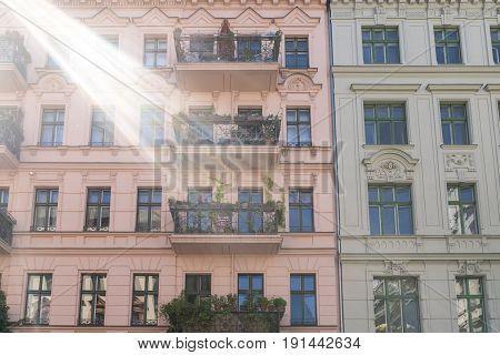Facade Of Two Beautiful Old House In Berlin Kreuzberg