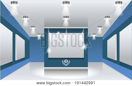 Vector interiors. Exhibition hall with white frames on the wall, illuminated by floodlights. Part of set.