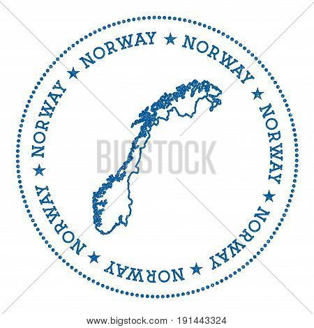 Norway Vector Map Sticker. Hipster And Retro Style Badge With Norway Map. Minimalistic Insignia With