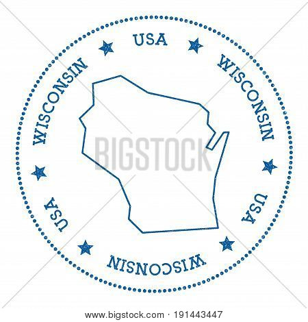 Wisconsin Vector Map Sticker. Hipster And Retro Style Badge With Wisconsin Map. Minimalistic Insigni