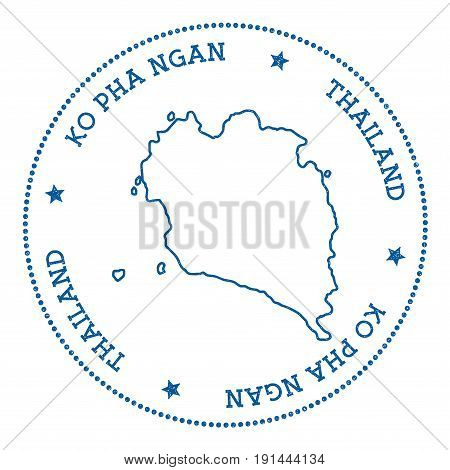 Ko Pha Ngan Map Sticker. Hipster And Retro Style Badge. Minimalistic Insignia With Round Dots Border