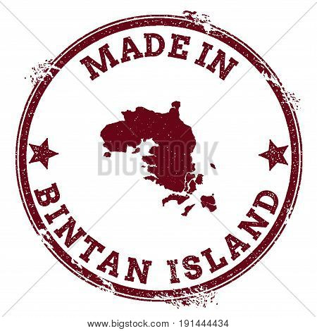 Bintan Island Seal. Vintage Island Map Sticker. Grunge Rubber Stamp With Made In Text And Map Outlin