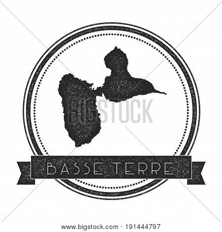 Basse-terre Island Map Stamp. Retro Distressed Insignia. Hipster Round Badge With Text Banner. Islan