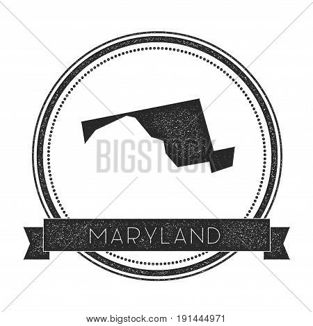 Maryland Vector Map Stamp. Retro Distressed Insignia With Us State Map. Hipster Round Rubber Stamp W