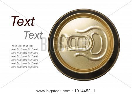 closed golden beer can on white background view from the top
