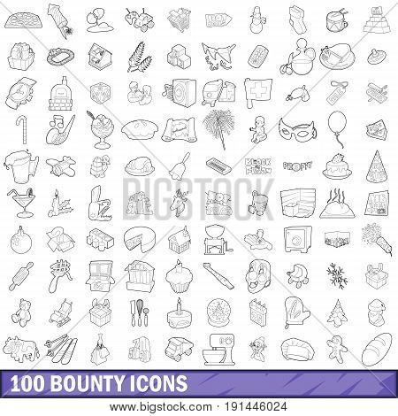 100 bounty icons set in outline style for any design vector illustration