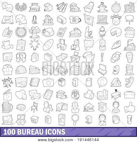 100 bureau icons set in outline style for any design vector illustration