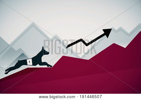 Side view of abstract dog figure running up red business charts with arrow. Success concept. 3D Rendering