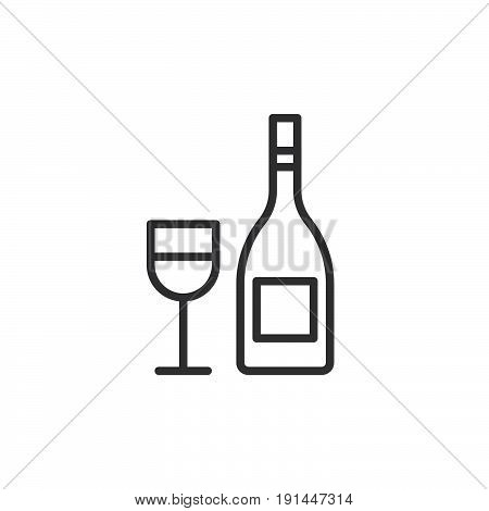 Wine bottle with wineglass line icon outline vector sign linear style pictogram isolated on white. Symbol logo illustration. Editable stroke. Pixel perfect