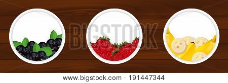 Set stickers with fresh bilberry strawberries and banana on wooden background. Labels for juice chocolate yogurt and etc. Vector illustration.