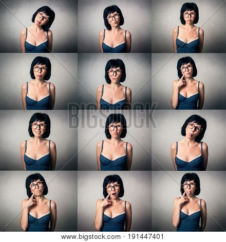 Pretty woman with the funny expression. Collage