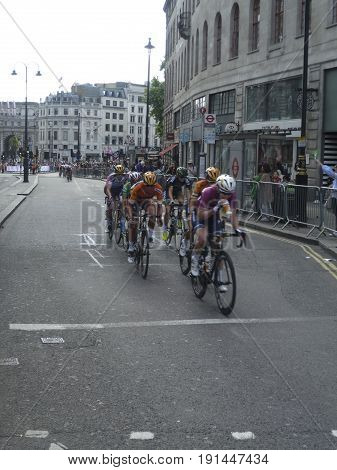 London UK-June 11 2017:Riders in the 2017 OVO Energy Women's Tour speeding along the Strand near Charing Cross Station