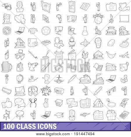 100 class icons set in outline style for any design vector illustration