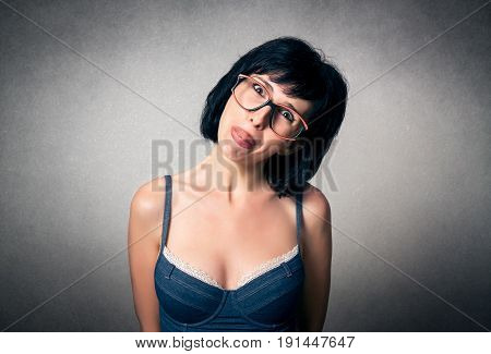 Pretty woman close up with funny expression