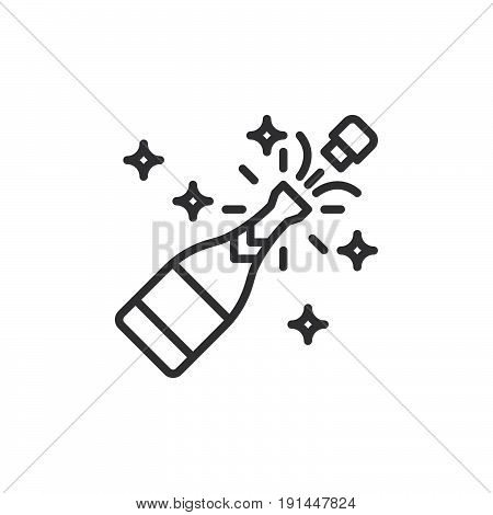 Champagne pop line icon outline vector sign linear style pictogram isolated on white. Celebration symbol logo illustration. Editable stroke. Pixel perfect