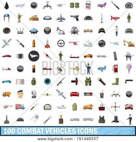 100 combat vehicles icons set in cartoon style for any design vector illustration