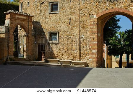 Porch in small town in Italy in sunny day, Umbria