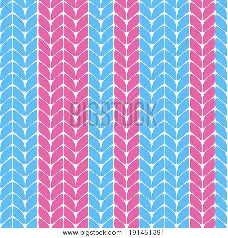 Seamless knitted pattern with blue and pink stripes