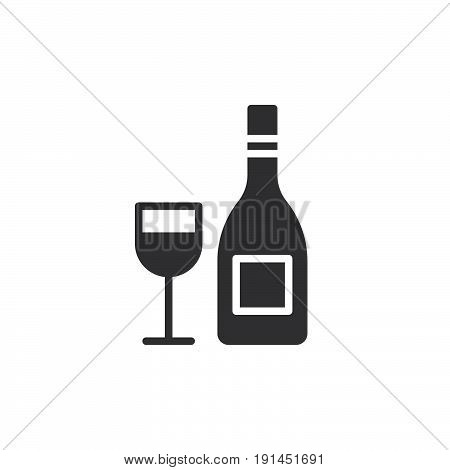 Wine bottle with wineglass icon vector filled flat sign solid pictogram isolated on white. Symbol logo illustration. Pixel perfect