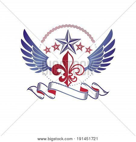 Retro winged vintage Insignia created with lily flower and pentagonal stars. Vector product quality idea design element Fleur-De-Lis.