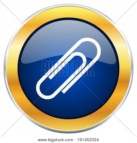 Paperclip blue web icon with golden chrome metallic border isolated on white background for web and mobile apps designers.