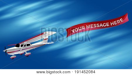 Small Single Engine White Propeller Airplane Dragging An Advertising Banner