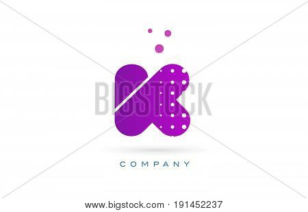 K Pink Dots Letter Logo Alphabet Icon