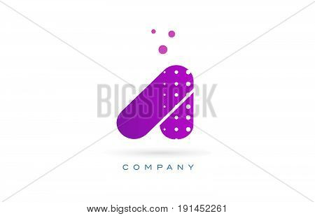 A Pink Dots Letter Logo Alphabet Icon
