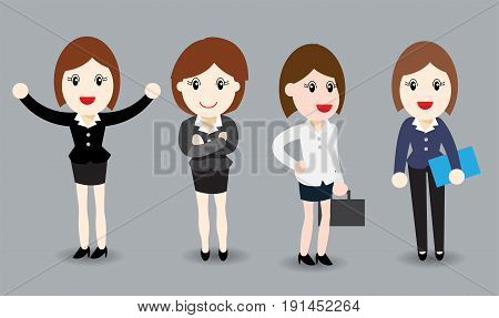 Business woman flat design, Isometric People, business woman in business suits - Vector Illustration