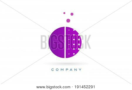 O Pink Dots Letter Logo Alphabet Icon