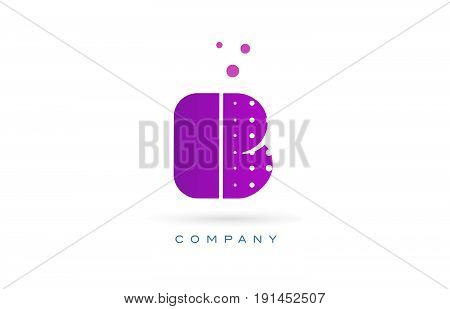B Pink Dots Letter Logo Alphabet Icon