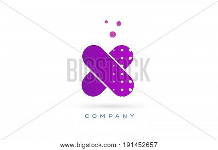 X Pink Dots Letter Logo Alphabet Icon