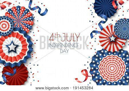 4Th Of July, Usa Independence Day Vector Banner Template.. White Background With Paper Stars In Usa
