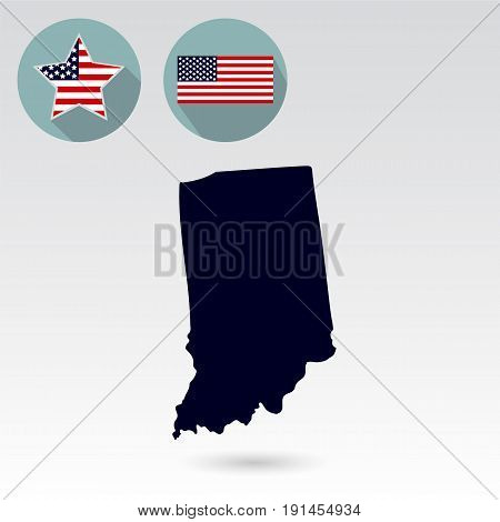Map of the U.S. state of Indiana on a white background. American flag, star.