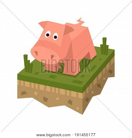 Isometric flat pink pig on the tile of ground with grass. Geometric farm animal in isometry. Pig on 3d land or soil tile.